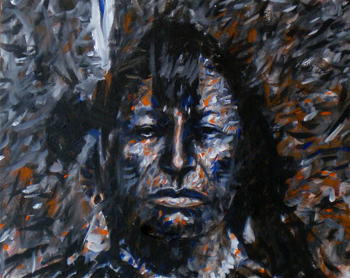 ARIKARA SCOUT 1870 / 1990, Acrylic on paper on Aluminum, Size: 59,5 x 48 cm, framed, SOLD