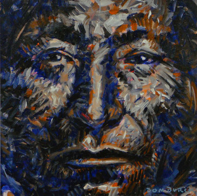 """LONE WOLF """"GUIPAGO"""" 1867-74 / 1992, Acrylic on paper, Size: 48 x 48 cm, framed"""