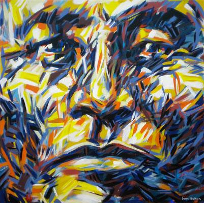 """LITTLE WOLF """"OHCUMGACHE"""" 1877 / 1994, Acrylic on canvas, Size: 110 x 110 cm, unframed, (not available)"""