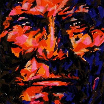 GERONIMO, Pastel crayon on paper, Size: 29 x 29 cm (paper size 55 x 75 cm), unframed