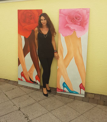 -Oelgemälde-Catwalk-von-Marion Haas-Atelier-Eltville-Rheingau-Malereien-Bilder-kaufen-mieten
