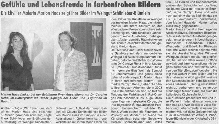 Gefühle und Lebensfreude in farbenfrohen Bildern, Rheingau Echo, 2004