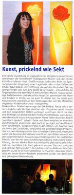 Kunst, prickelnd wie Sekt, Eltviller Zeitung, 2007