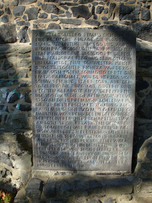 Gedenktafel Ruine Tomburg