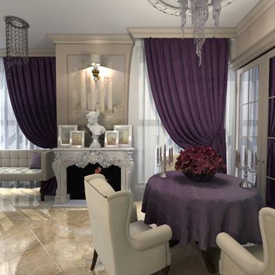 сиреневые шторы в дизайне интерьера
