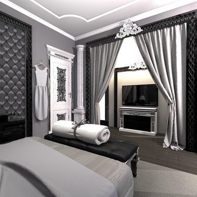 ниша в спальне с колоннами и зоной тв
