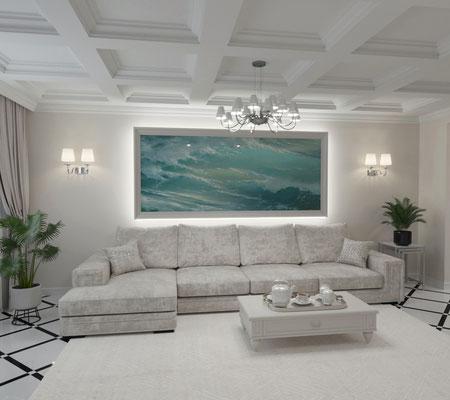 дизайн гостиной в классике