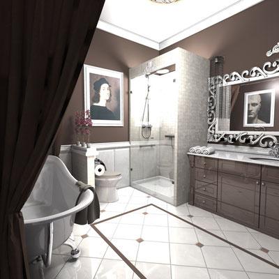 бело коричневая ванная комната классика