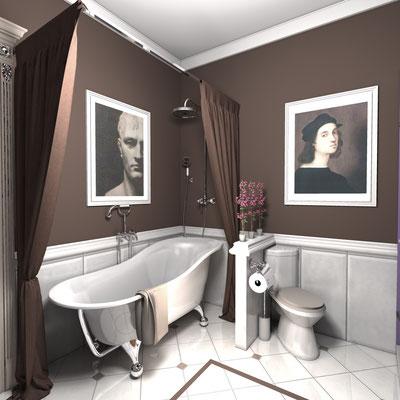 ванная комната с островной ванной