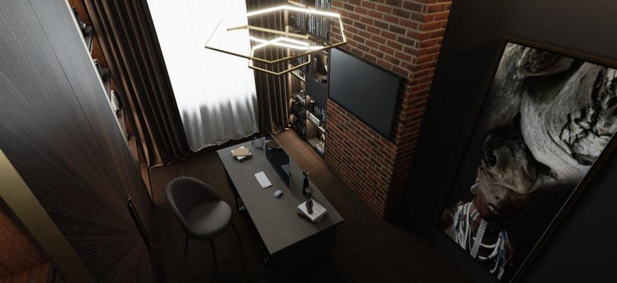 Кирпичные стены в кабинете