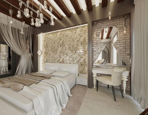 спальня лофт с кирпичами
