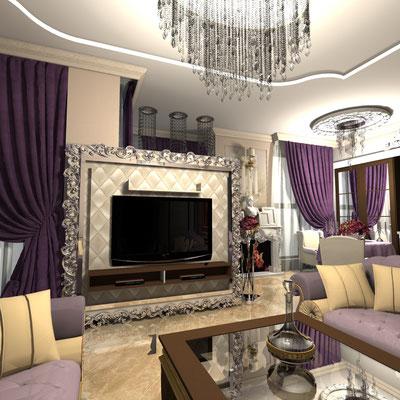 дизайн интерьера гостиной в роскошном стиле