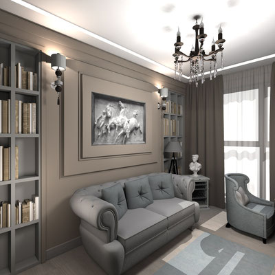 дизайн интерьера кабинета в проекте квартиры