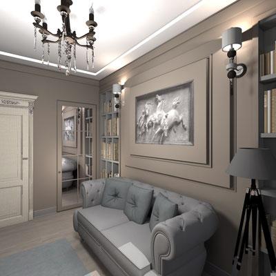 серый диван честер в дизайн проекте интерьера кабинета в квартире