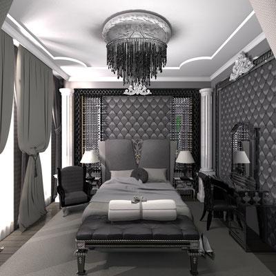 дизайн интерьера черной спальни