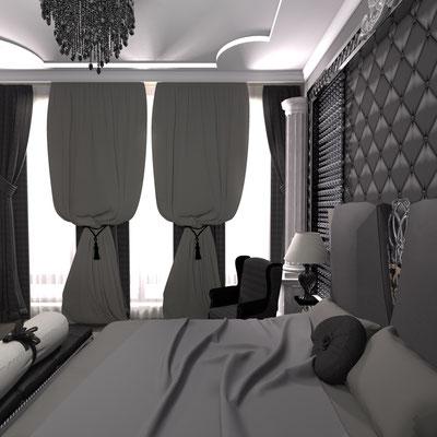 спальня в строгом стиле и темном цвете