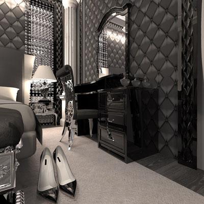 дизайн черной спальни классика в интерьерах