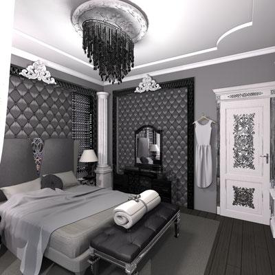 черная спальня в стиле арт деко