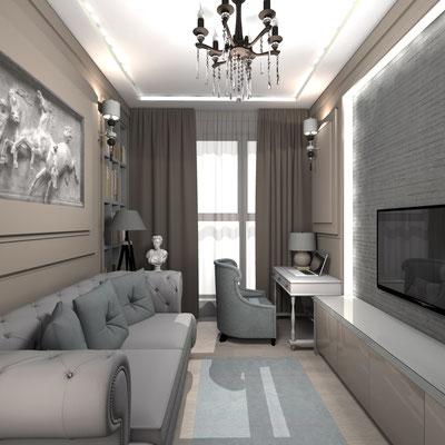 серый диван в кабинете классического интерьера квартиры