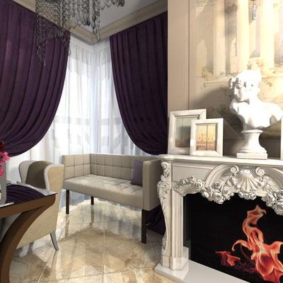 камин в дизайне интерьера квартиры в классическом стиле