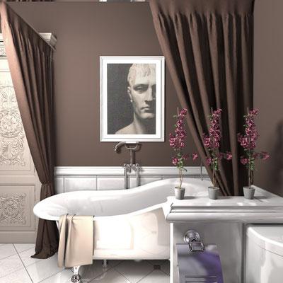 дизайн ванной в бело коричневом цвете