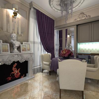 дизайн кухни в классическом роскошном стиле