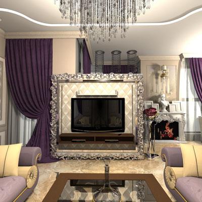 зона тв в гостиной обрамленная классическим багетом