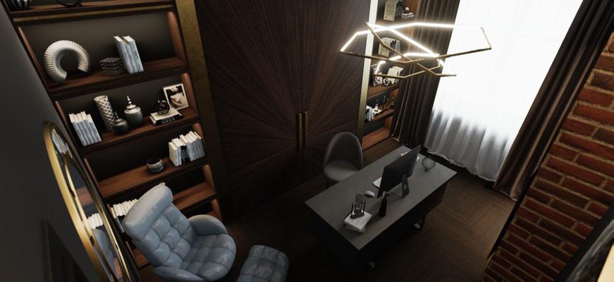 Красивый кабинет лофт