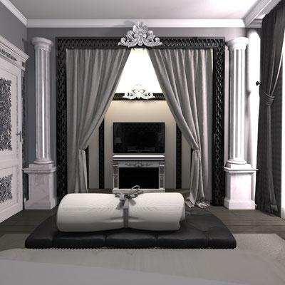 камин в дизайне интерьера спальни и над ним тв
