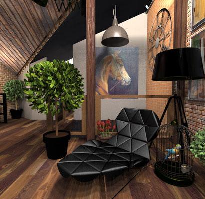 Частный дизайнер интерьера, портфолио, дизайн интерьера мансарды, стиль лофт