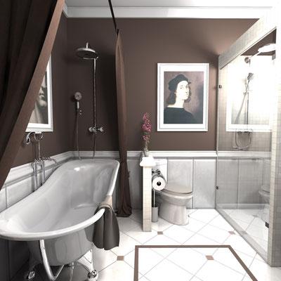 душевая в ванной по проекту интерьера