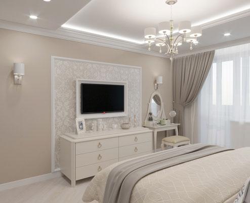 дизайн интерьера спальни бежевая классика