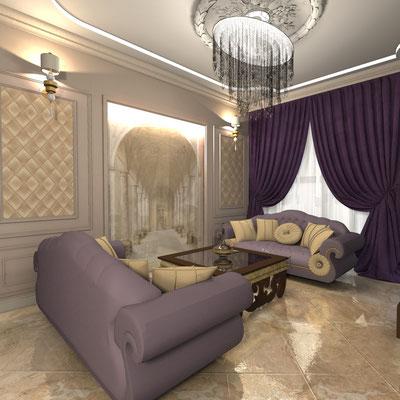 мягкая зона в интерьере гостиной комнаты с сиреневыми диванами из бархата