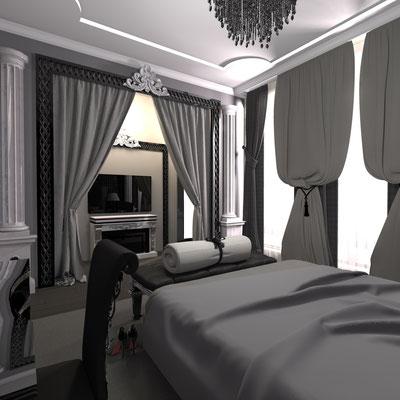 шторы в классическом стиле в темной спальне