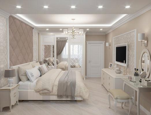 Дизайн интерьера спальни современная класика