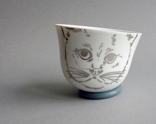 Tasse Katze Platin handbemalt