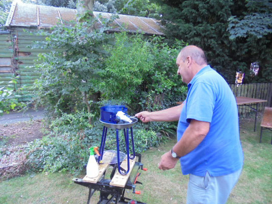 Bill attempts to light the bbq