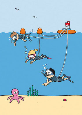 cover illustration showing 3 different users of Snorkel Dive's unique new system, all at their own level of comfort or experience, yet still having fun together as a family