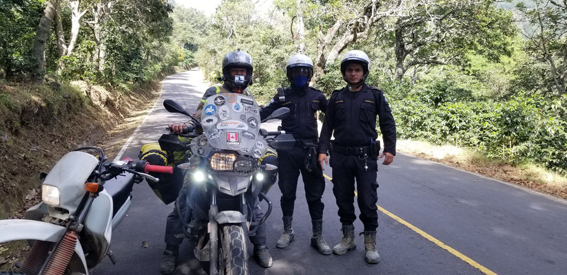 escorted by local police around San Pedro volcano, through the red zone