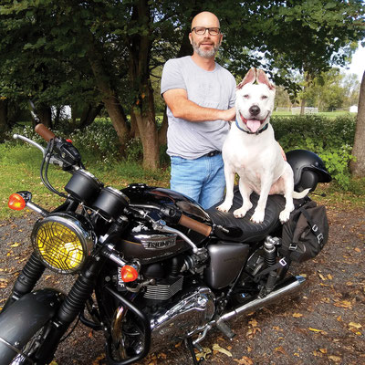 """For """"New Additions"""", my boy Cyrus and I with my 2012 Bonneville in 2018"""