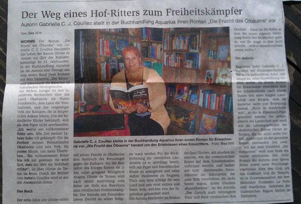 Wormser Wochenblatt vom 18.09.2013, Artikel von Bea Witt