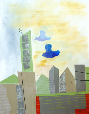 Serie: die Immigration eines Zugvogels (2), Mischechnik, A4. 2014 (copyright: oya-kunst, Nadide Ruthammer)