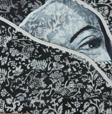 "Serie: ""20x20"" (copyright: oya-kunst, Nadide Ruthammer), Stoff, Acryl auf Leinwand"