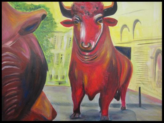 Bulle und Bär (Börse, 90x110cm) Nr. 480