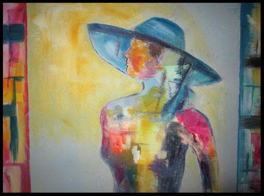 Frau mit Hut und Gaze (50x70cm) Nr. 705