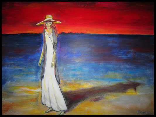 Frau mit Hut am Meer (70x90cm) Nr. 708