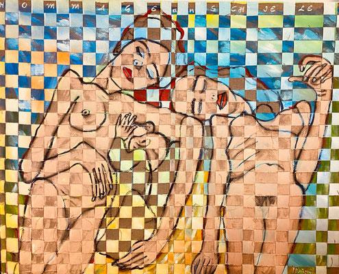 Bild Nr. 948, Hommage an Schiele, 150 x 120 cm, Acryl und Jute