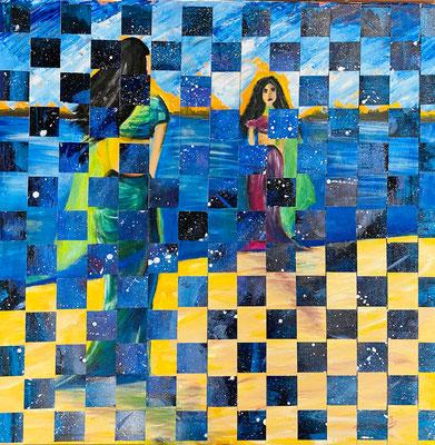 Bild Nr. 998, 2 Frauen am Meer, 60 x 60 cm, Acryl