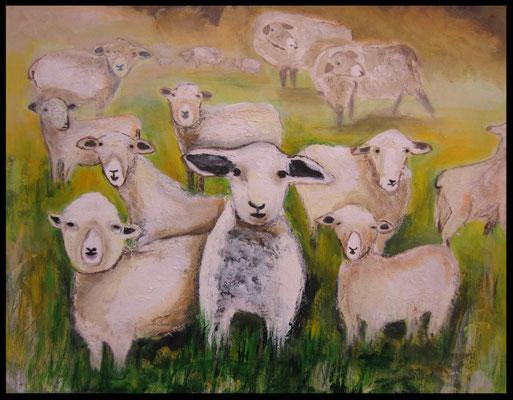 Schäfchen und Schafe (60x70cm) Nr. 102