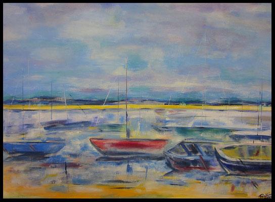 """""""rotes Boot im Hafen"""" (80x60cm) Nr. 345"""